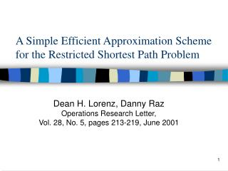 A Simple Efficient Approximation Scheme for the Restricted Shortest Path Problem