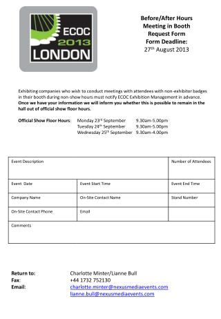 Before/After Hours Meeting in Booth Request Form Form  Deadline:  27 th  August 2013