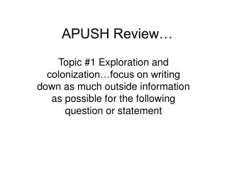 APUSH Review…