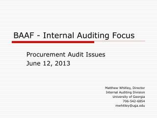 BAAF - Internal Auditing Focus