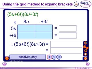 Using the grid method to expand brackets