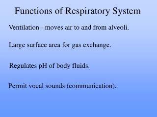 Ventilation - moves air to and from alveoli.
