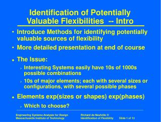 Identification of Potentially Valuable Flexibilities  -- Intro