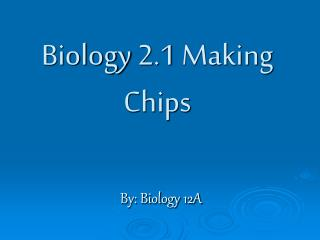 Biology 2.1 Making Chips