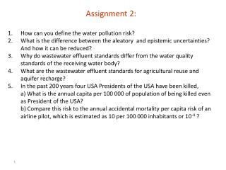 Assignment 2:  How can you define the water pollution risk?
