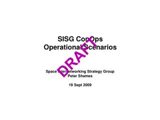SISG ConOps Operational Scenarios
