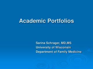Academic Portfolios