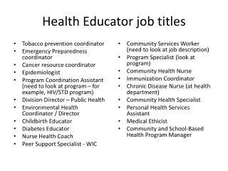 Health Educator job titles