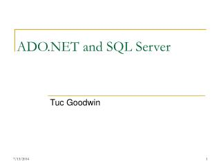 ADO.NET and SQL Server
