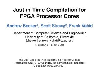 Just-in-Time Compilation for FPGA Processor Cores