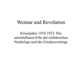 Weimar und Revolution