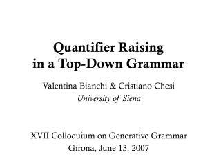 Quantifier Raising in a Top-Down Grammar