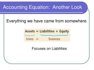 Accounting Equation:  Another Look