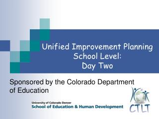 Sponsored by the Colorado Department of Education