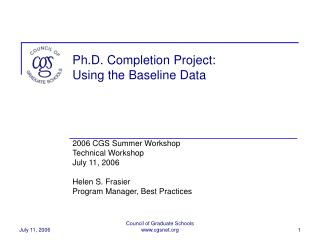 Ph.D. Completion Project: Using the Baseline Data