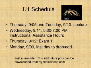 U1 Schedule