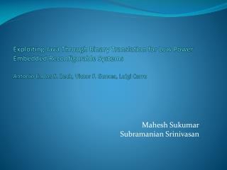 Mahesh Sukumar Subramanian Srinivasan