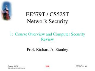 EE579T / CS525T Network Security 1:  Course Overview and Computer Security Review