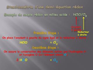 St�chiom�trie d�une demi-�quation  r�dox