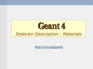 Detector Description - Materials