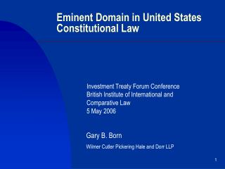 Eminent Domain in United States Constitutional Law