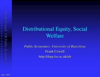 Distributional  Equity, Social Welfare