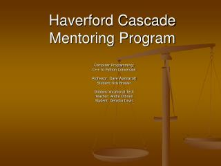 Haverford Cascade Mentoring Program
