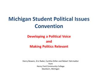 Michigan Student Political Issues Convention