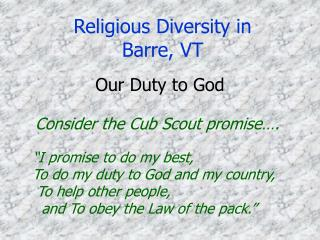 Religious Diversity in Barre, VT