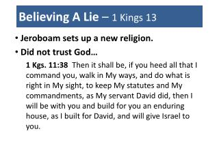 Believing A Lie  –  1 Kings 13