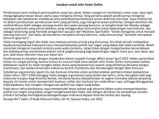 Jawaban untuk John Foster Dulles