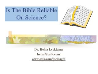 Is The Bible Reliable  On Science?