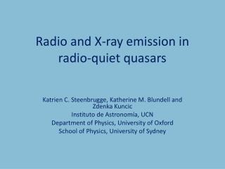 Radio and X-ray emission in radio-quiet quasars