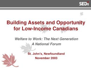 Building Assets and Opportunity for Low-Income Canadians