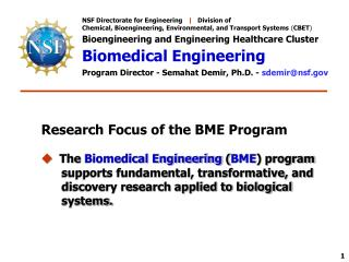 NSF Directorate for Engineering    |    Division of Chemical, Bioengineering, Environmental, and Transport Systems  ( C