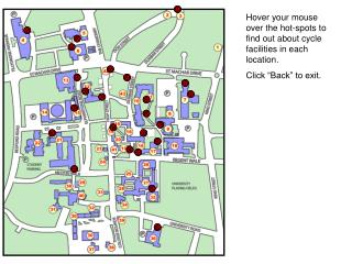 """Hover your mouse over the hot-spots to find out about cycle facilities in each location. Click """"Back"""" to exit."""