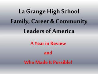 La Grange High School Family, Career & Community  Leaders of America