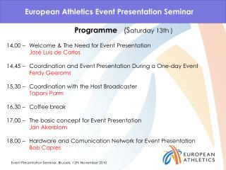 European  Athletics  Event Presentation Seminar