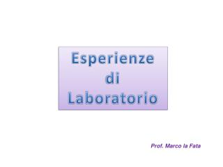 Esperienze di Laboratorio