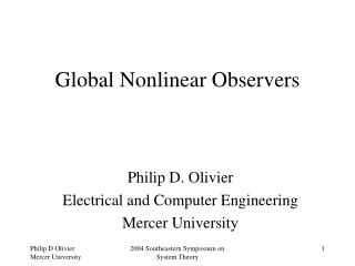 Global Nonlinear Observers