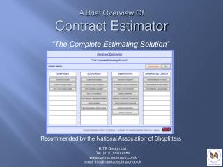 """The Complete Estimating Solution"""