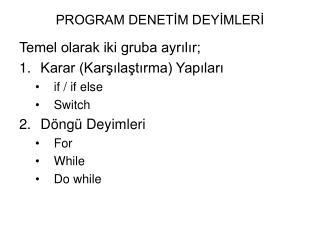 PROGRAM DENETİM DEYİMLERİ