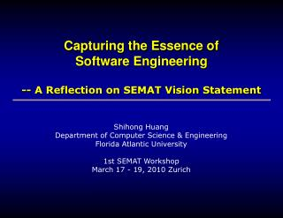 Capturing the Essence of  Software Engineering -- A Reflection on SEMAT Vision Statement