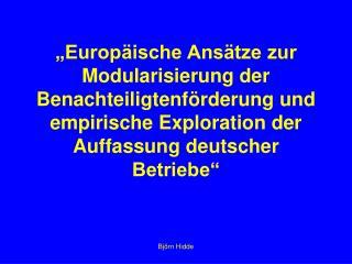 �Europ�ische Ans�tze zur Modularisierung der Benachteiligtenf�rderung und  empirische Exploration der Auffassung deutsc