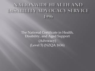 Nationwide Health and Disability Advocacy Service 1996