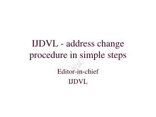 IJDVL - address change procedure in simple steps
