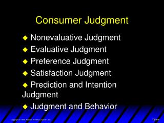 Consumer Judgment