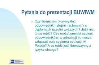 Pytania do prezentacji BUWiWM