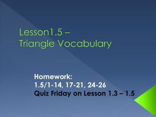 Lesson1.5 –  Triangle  Vocabulary