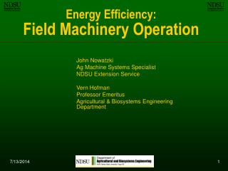 Energy Efficiency: Field Machinery Operation